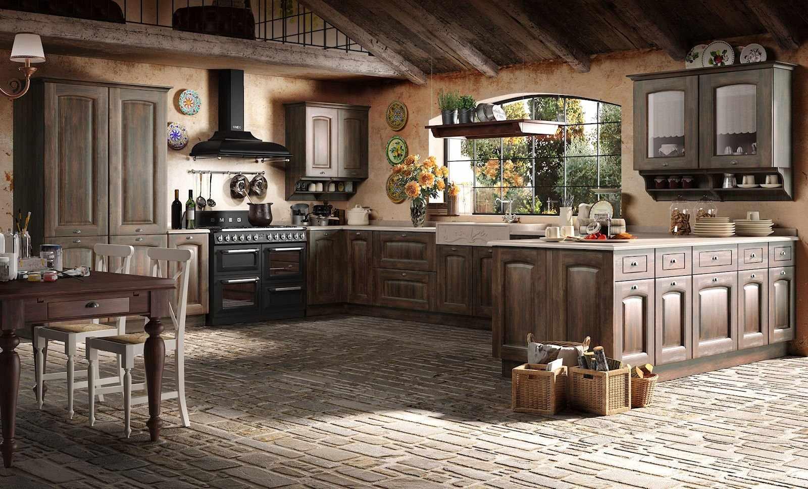 Мебель из дерева на кухне в стиле кантри