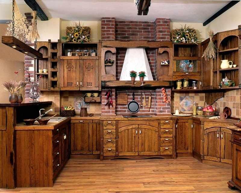 Декор в интерьере кухни в стиле кантри