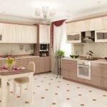 Светлая плитка в кухне на полу