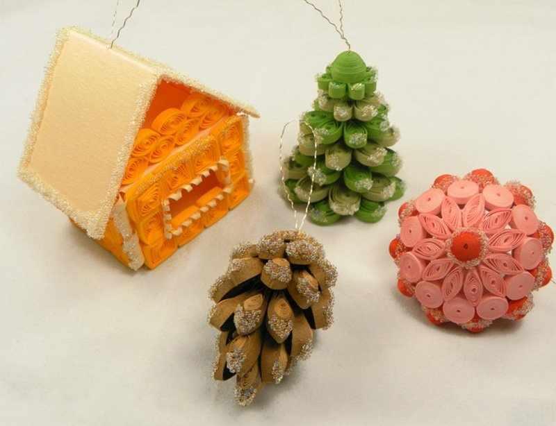 Новогодние украшения для елки квиллинг