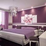 Сиреневый декор спальной комнаты