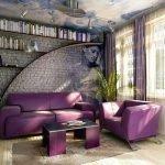 Фиолетовый диван и кресло