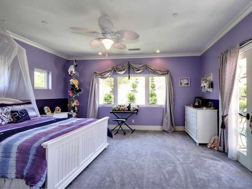 Спальня в нежных лавандовых оттенках