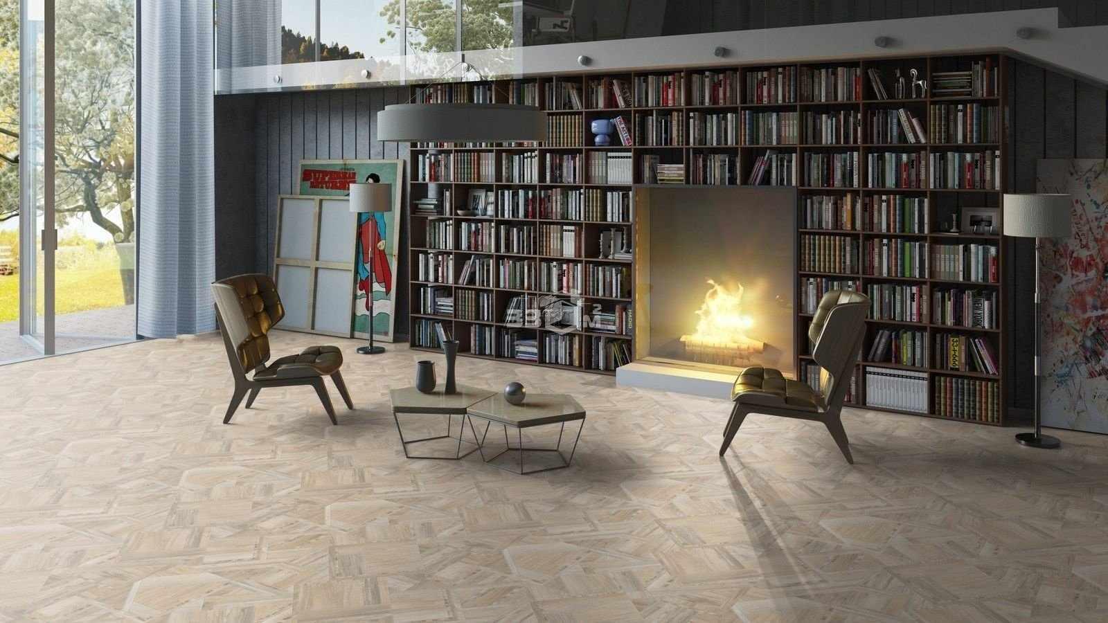 Современный интерьер гостиной с линолеумом