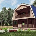 Двускатная ломаная крыша с балконом