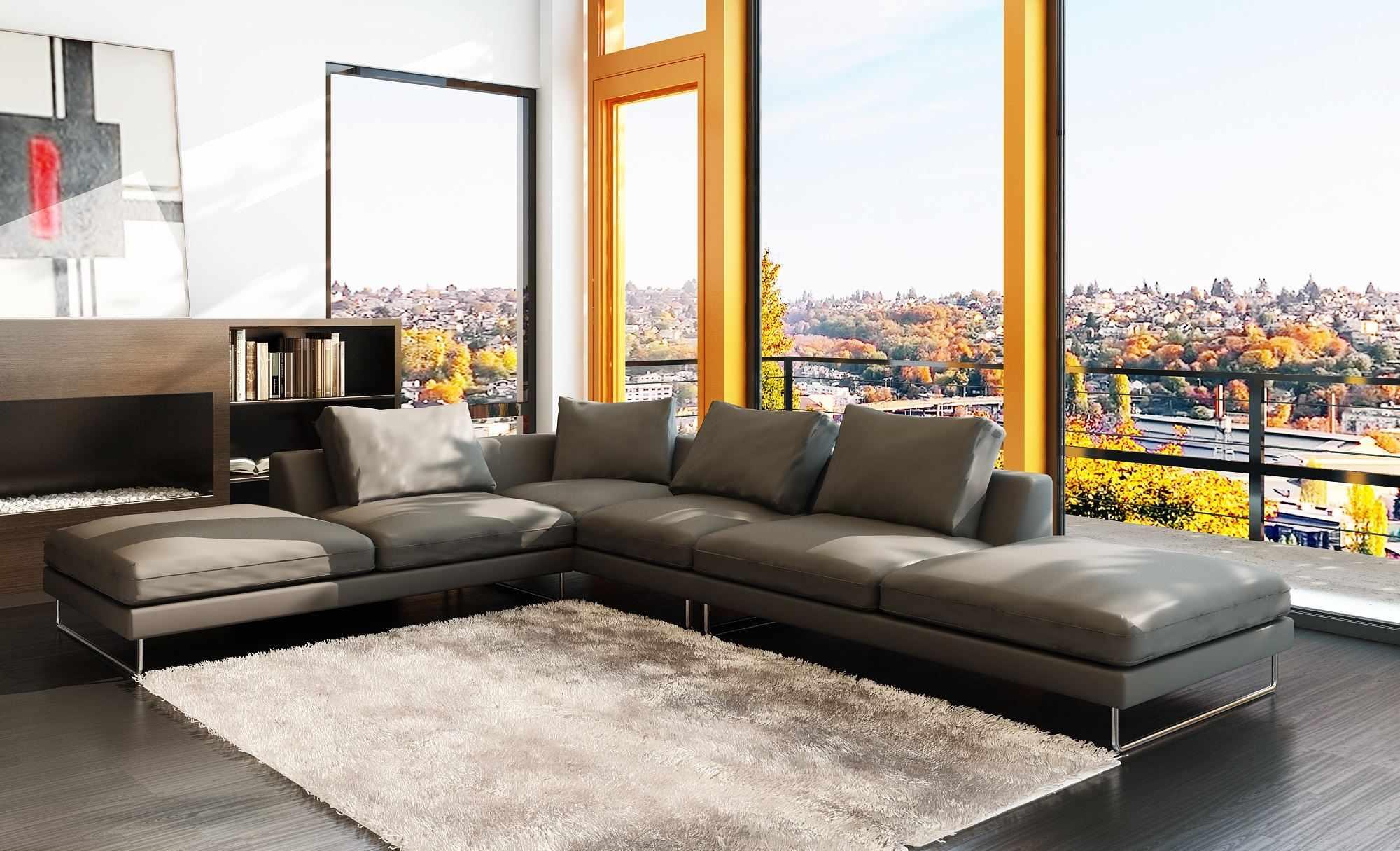 Гостиная в стиле модерн с серым диваном