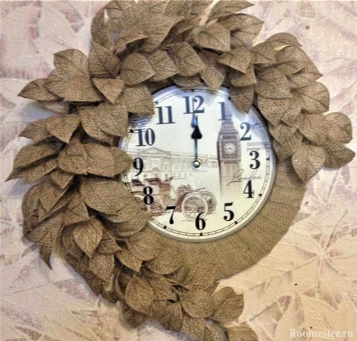 Часы с декором из мешковины