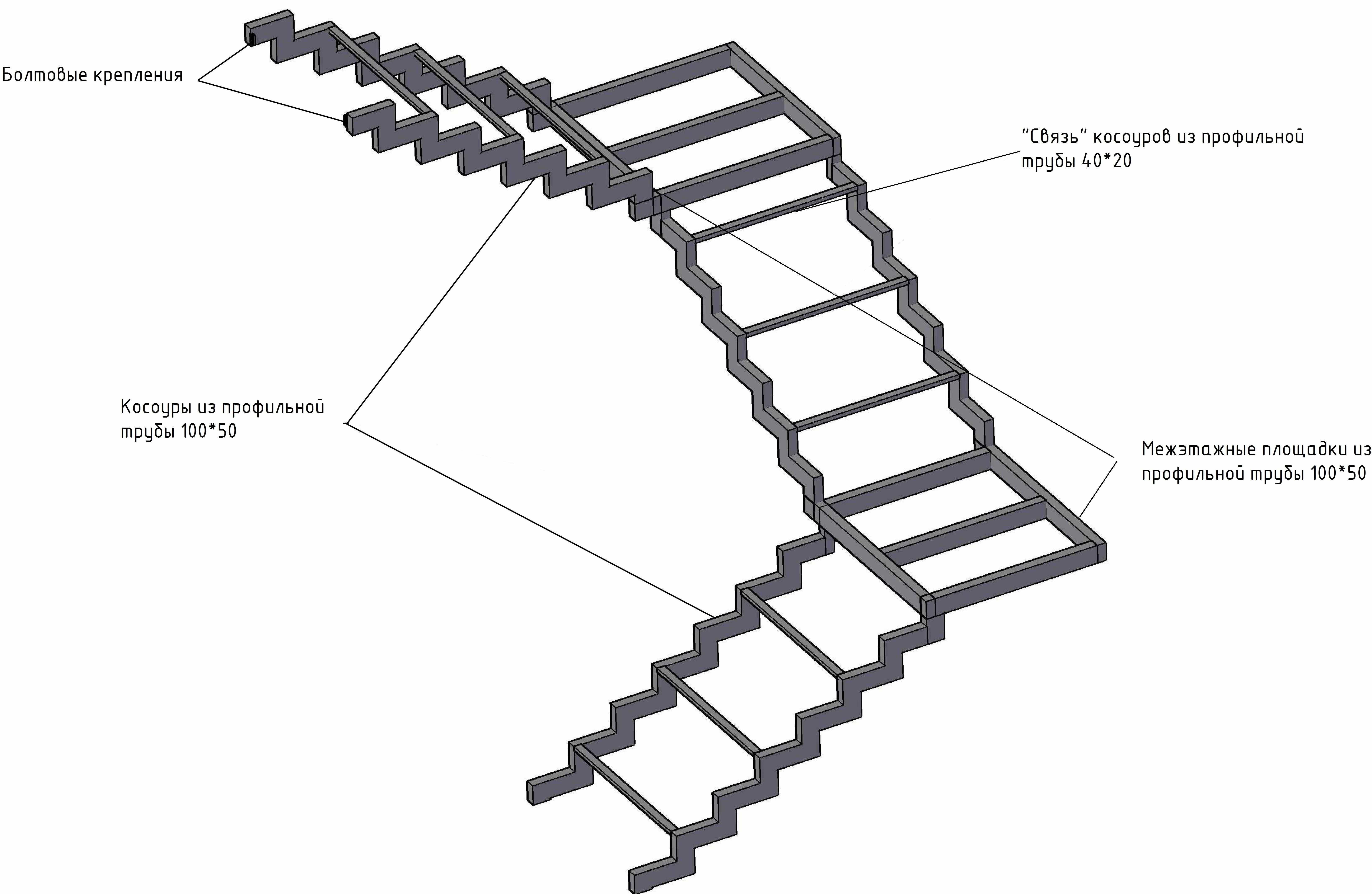 Металлическая лестница чертеж