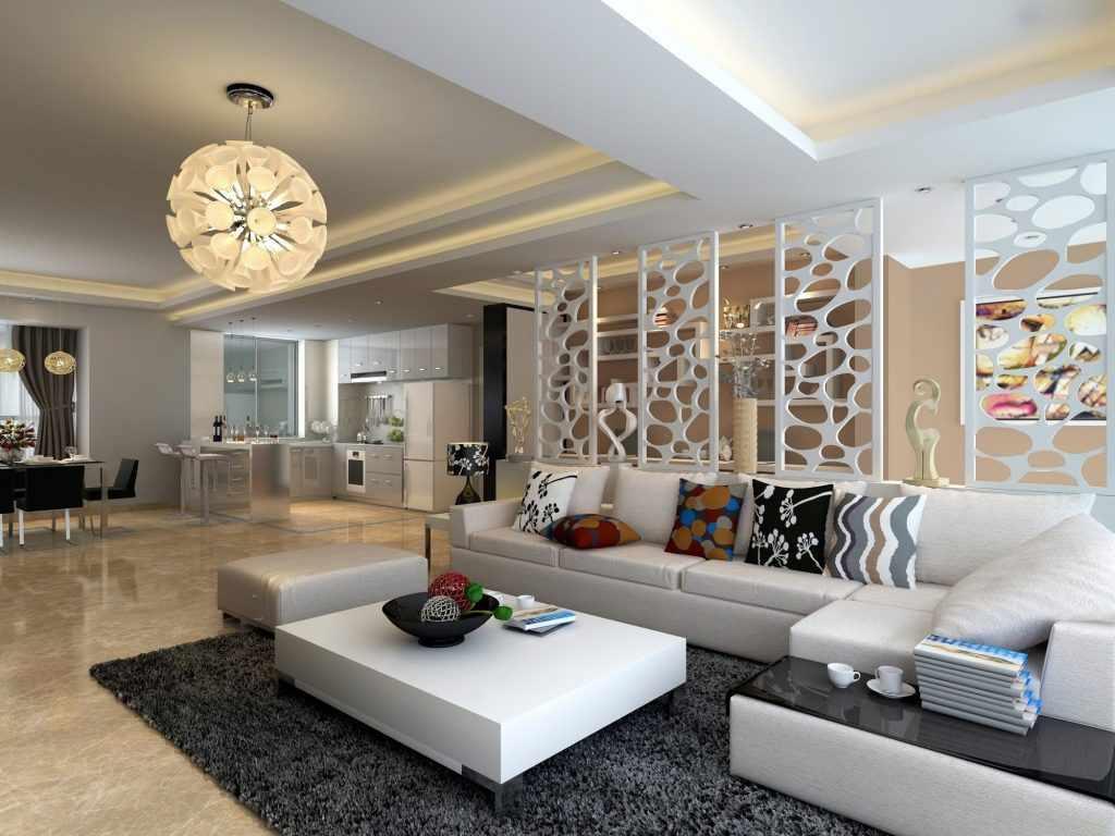 Светлая мебель и темный ковер в гостиной
