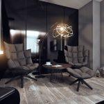 Комната в темном цвете с лампой, столиком и креслами