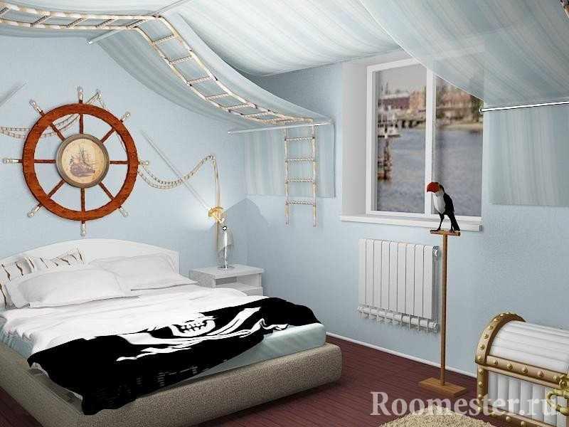Сундук и веревочная лестница в спальне