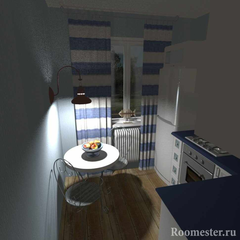 Кухня с сине-белым интерьером