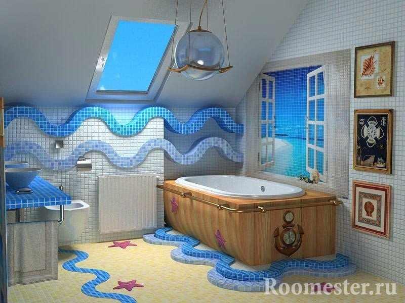 Картины на стене в ванной