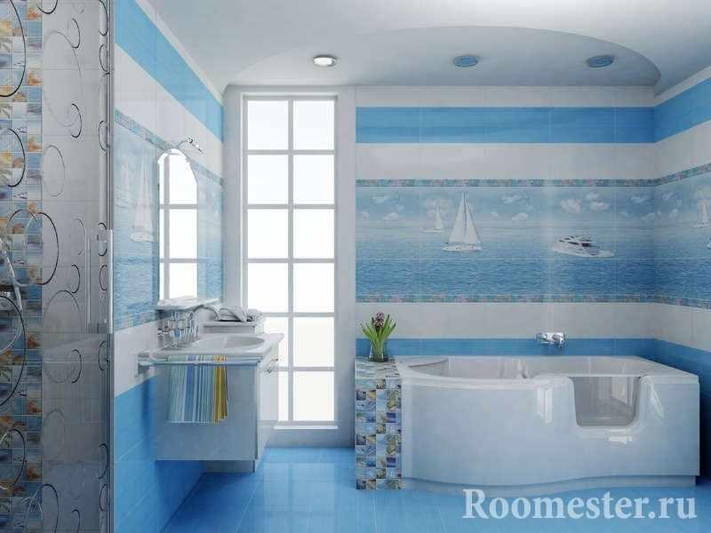 Пейзаж с морем и кораблями в ванной