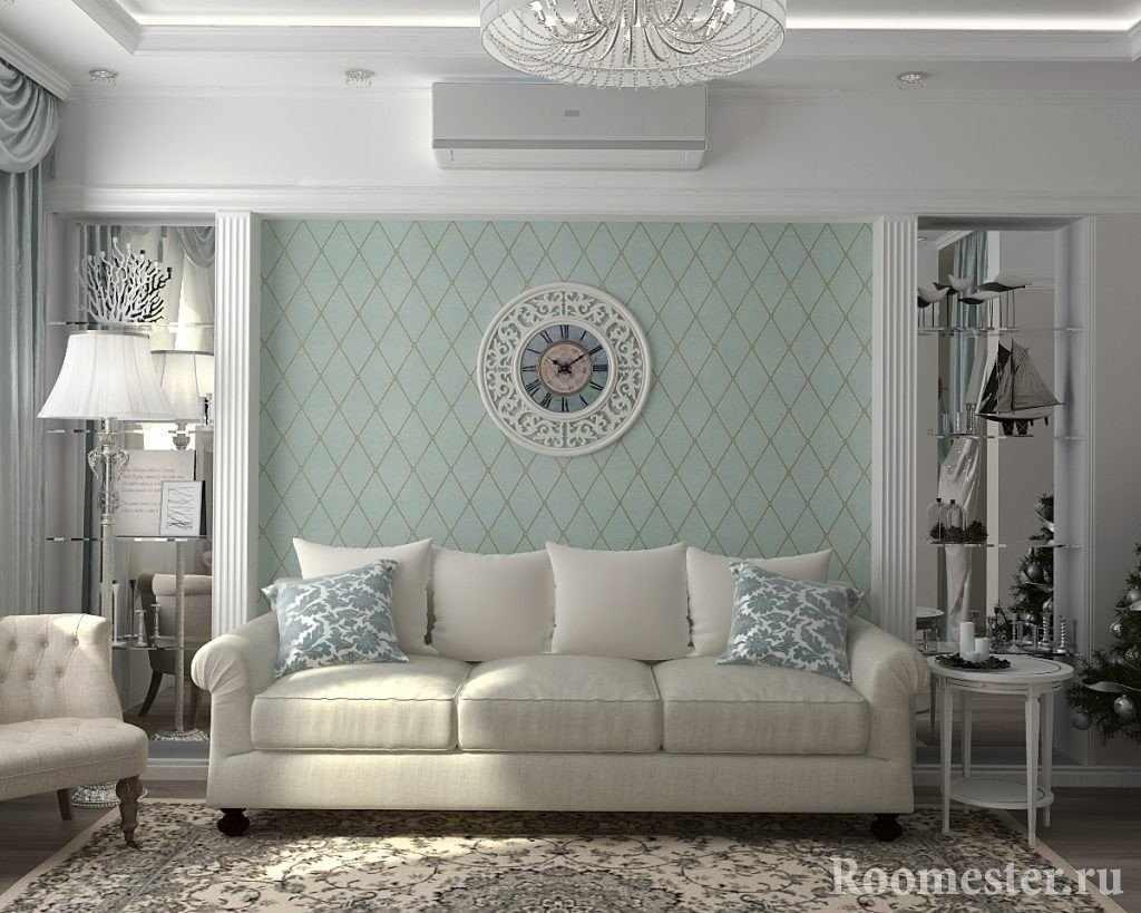 Интерьер гостиной с пастельными оттенками