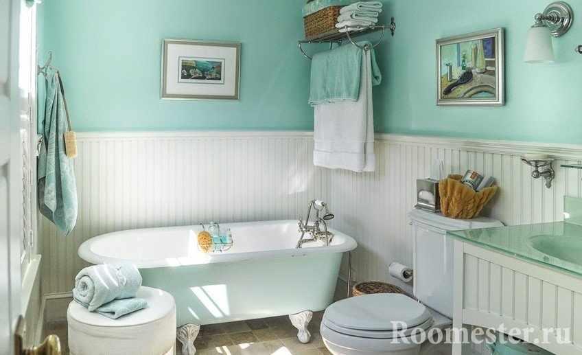 Декор и оформление ванной комнаты с мятным оттенком
