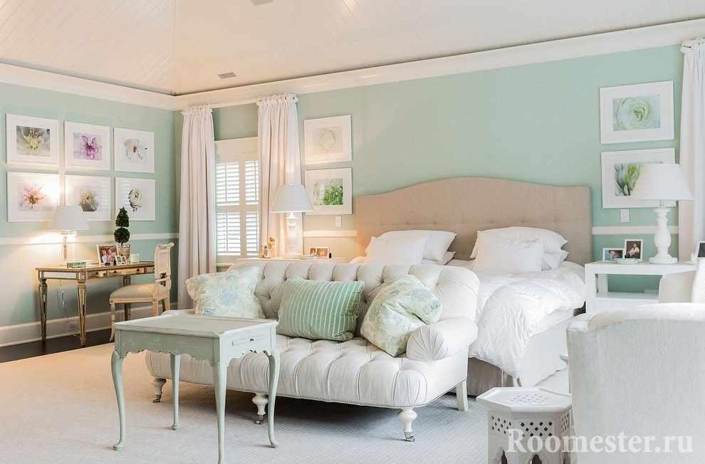 Мятный цвет в оформлении спальни