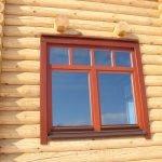 Деревянное окно для бревенчатого дома