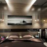 Натяжной потолок в спальне в стиле модерн