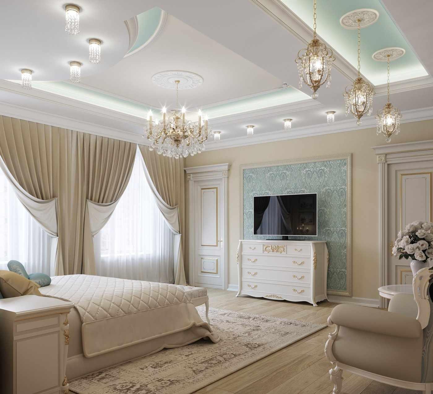 Натяжной потолок в спальне в классическом стиле