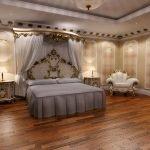 Натяжной потолок в спальне в стиле барокко