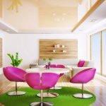 Персиковый натяжной потолок