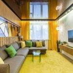 Коричневый однотонный натяжной потолок