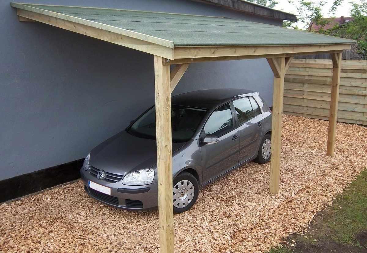 Автомобильный навес с односкатной крышей