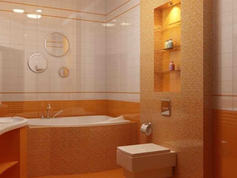 Сочетание белой и оранжевой плитки на стенах