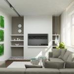 Зеленые картины на белой стене