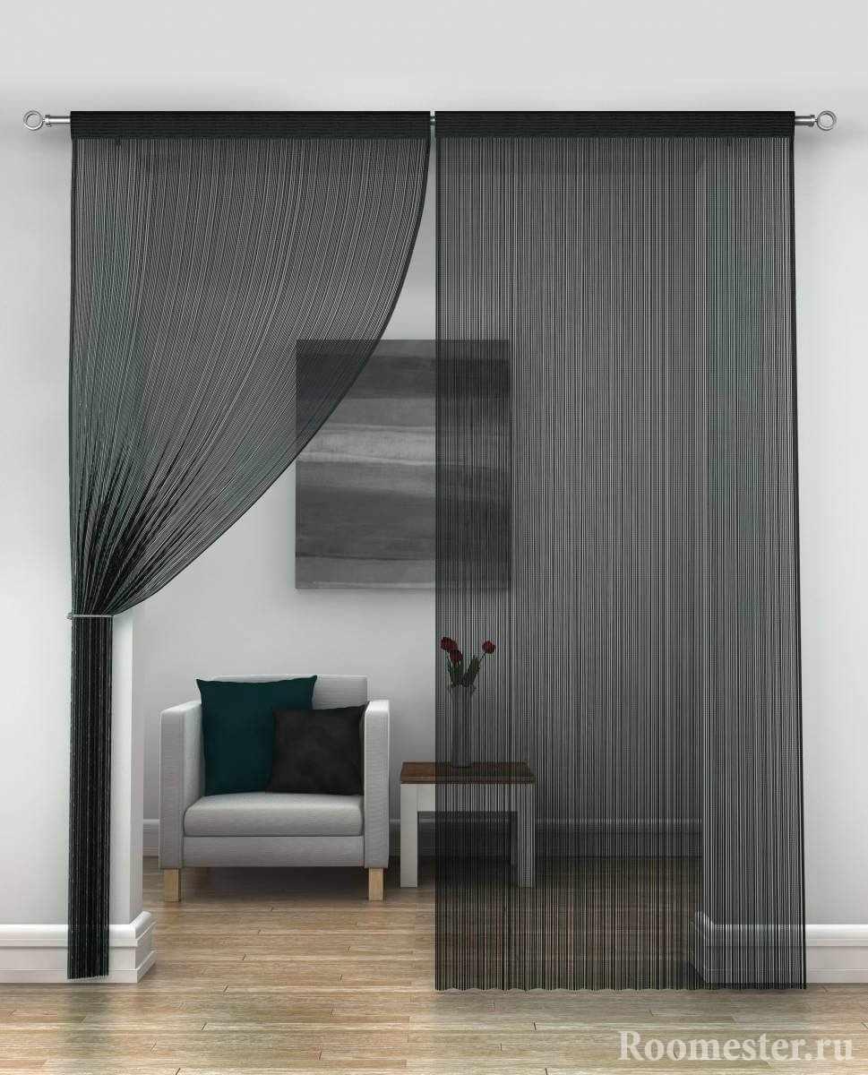 Серые шторы в белом интерьере