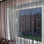 Черные ниточные шторы с декором