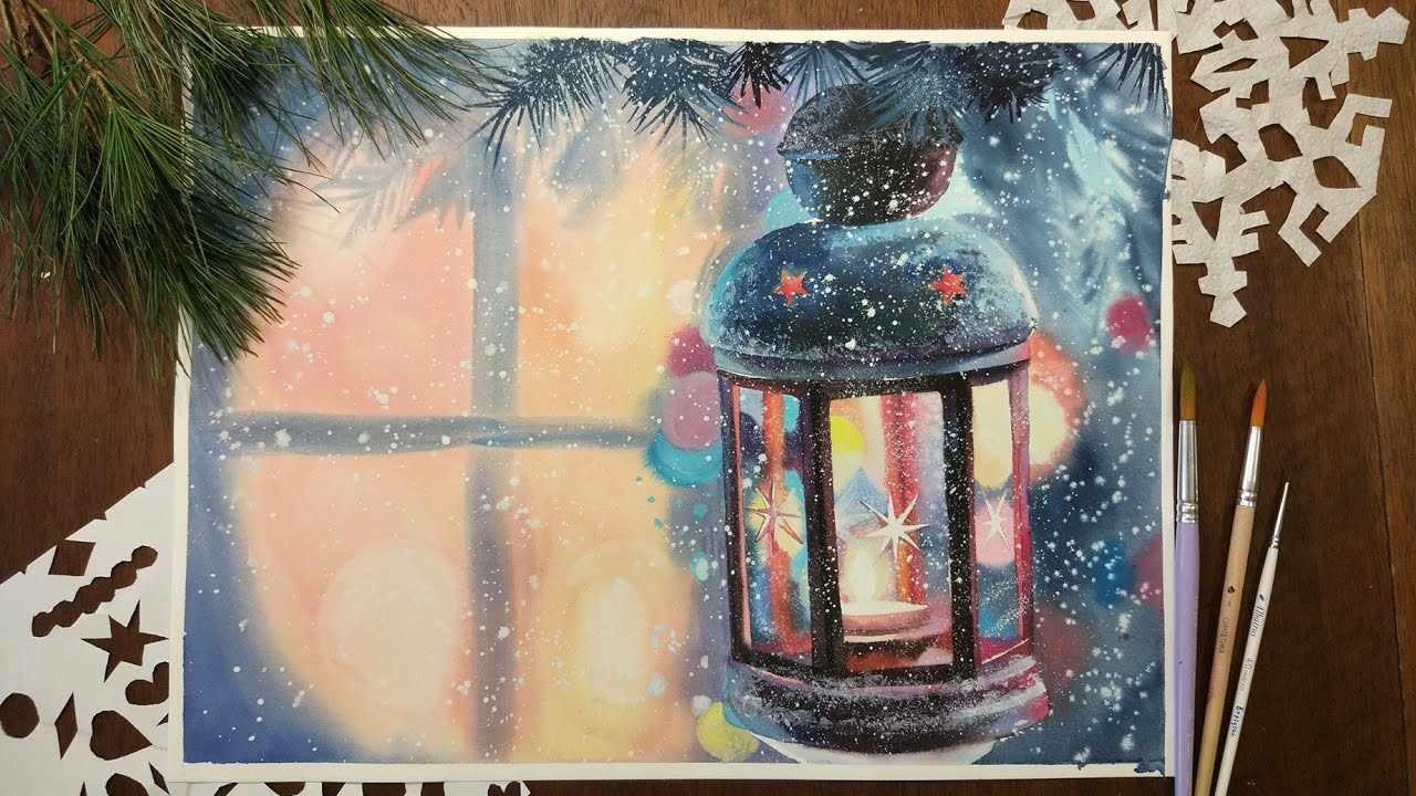 Новогодняя открытка красками