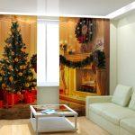 Белый диван, столик и новогодние шторы в интерьере