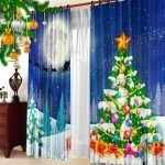 Комод у окна с новогодними шторами
