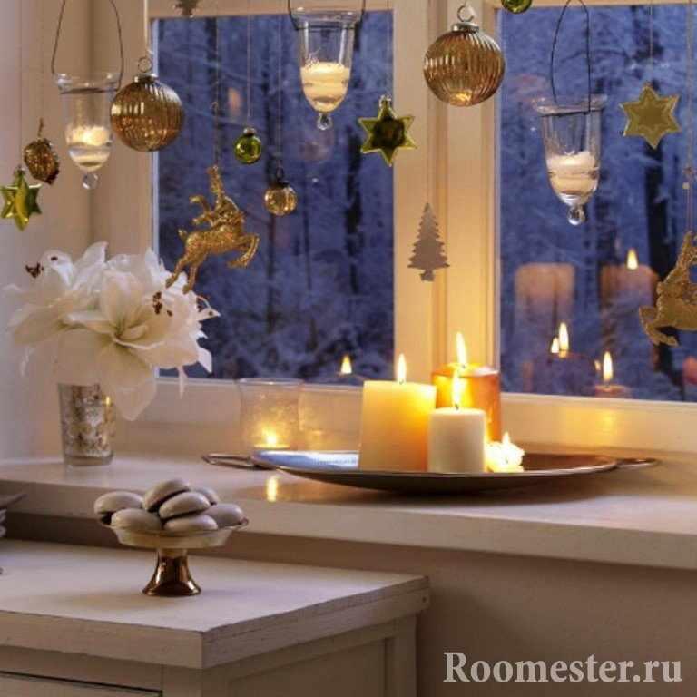 Декор окна и подоконника в новогоднем стиле