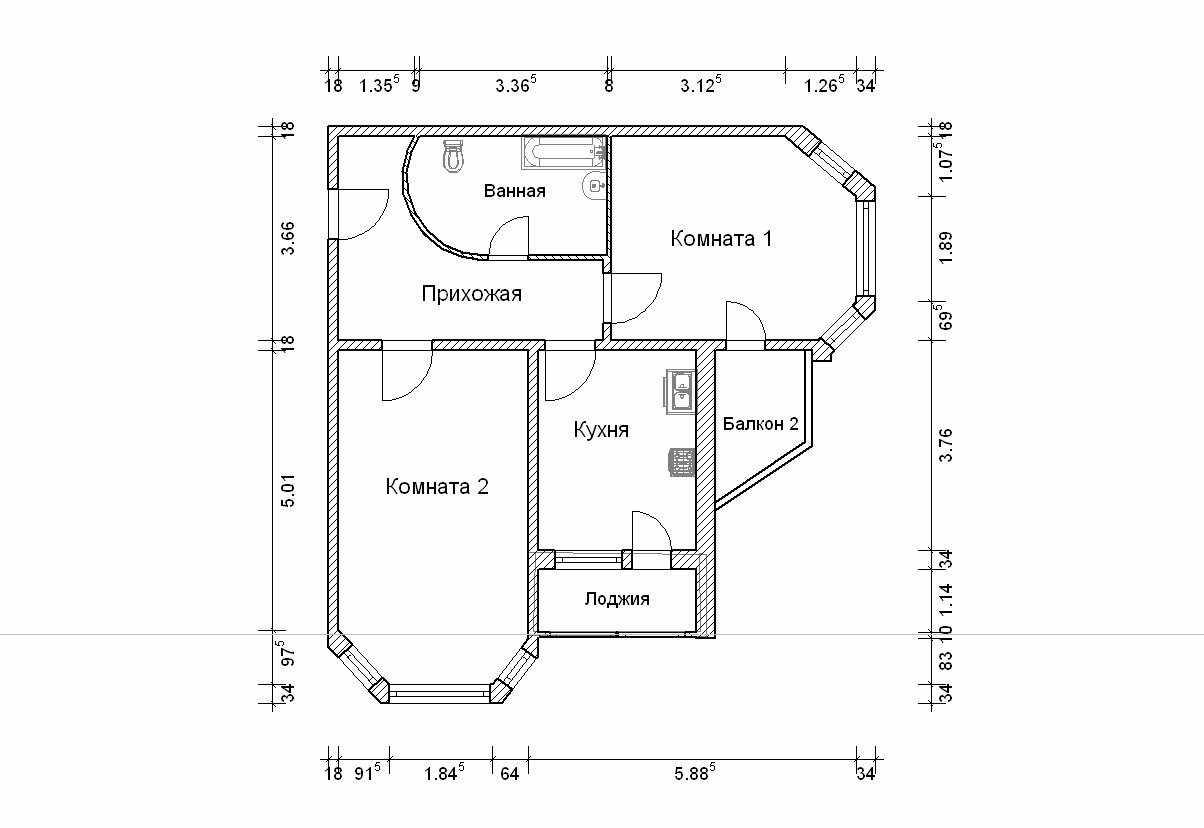 Планировка квартиры с балконом