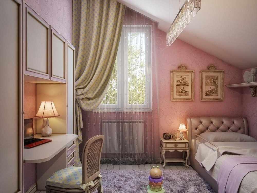 Розовые обои в маленькой комнате