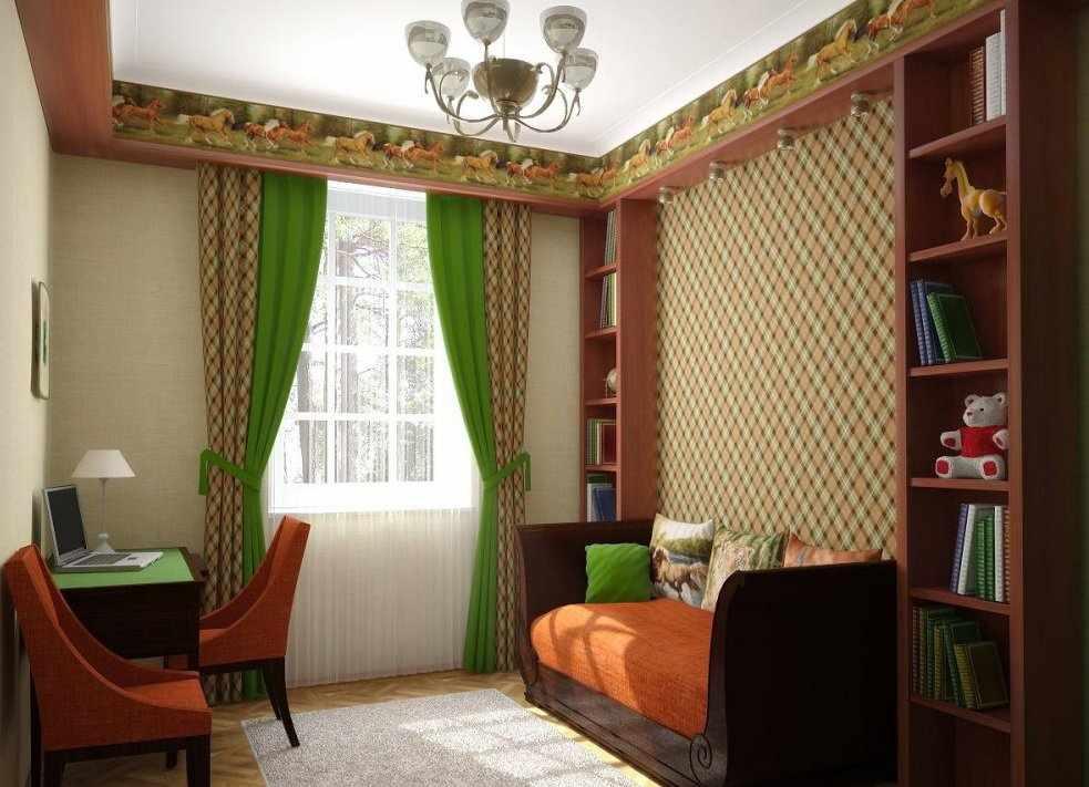 Интерьер маленькой комнаты с обоями