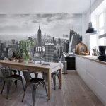 Черно-белые фотообои на кухне