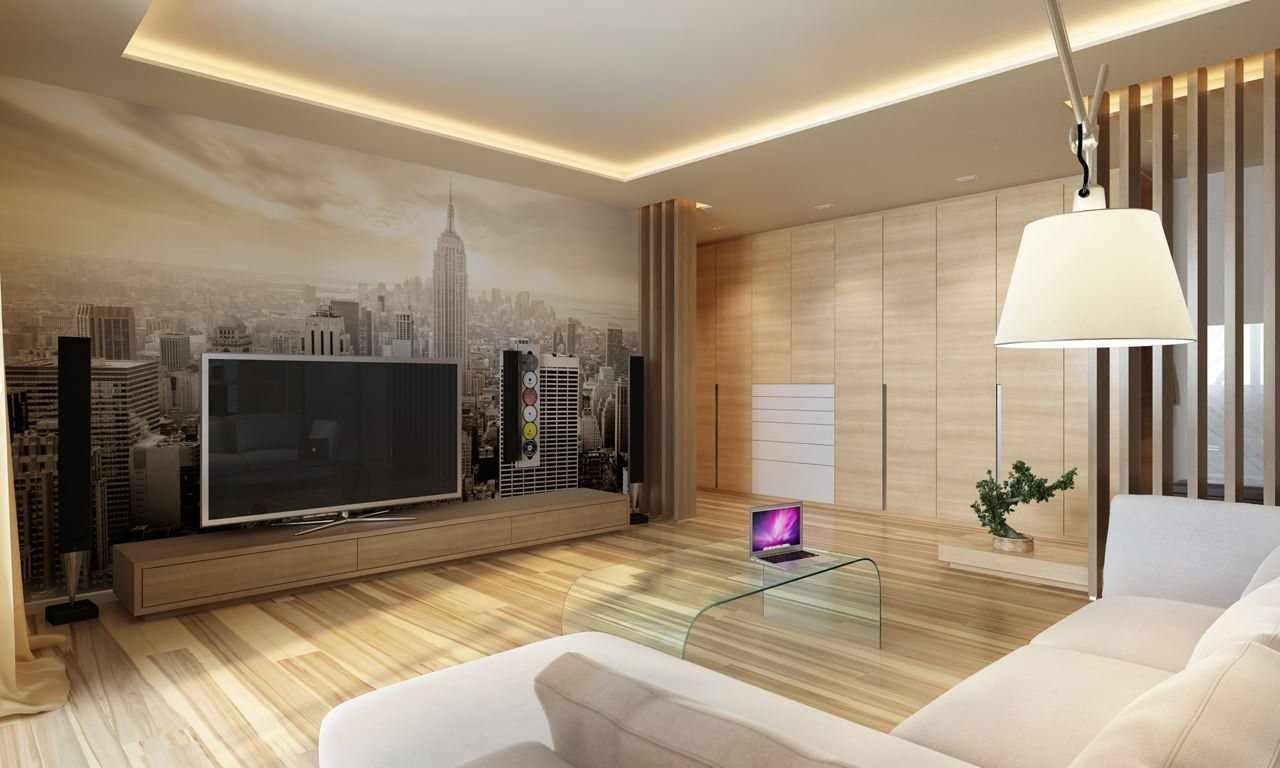Вид мегаполиса в гостиной