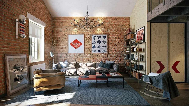 Интерьер квартиры в стиле лофт с обоями под кирпич