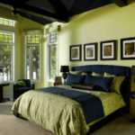 Сине-оливковая спальня