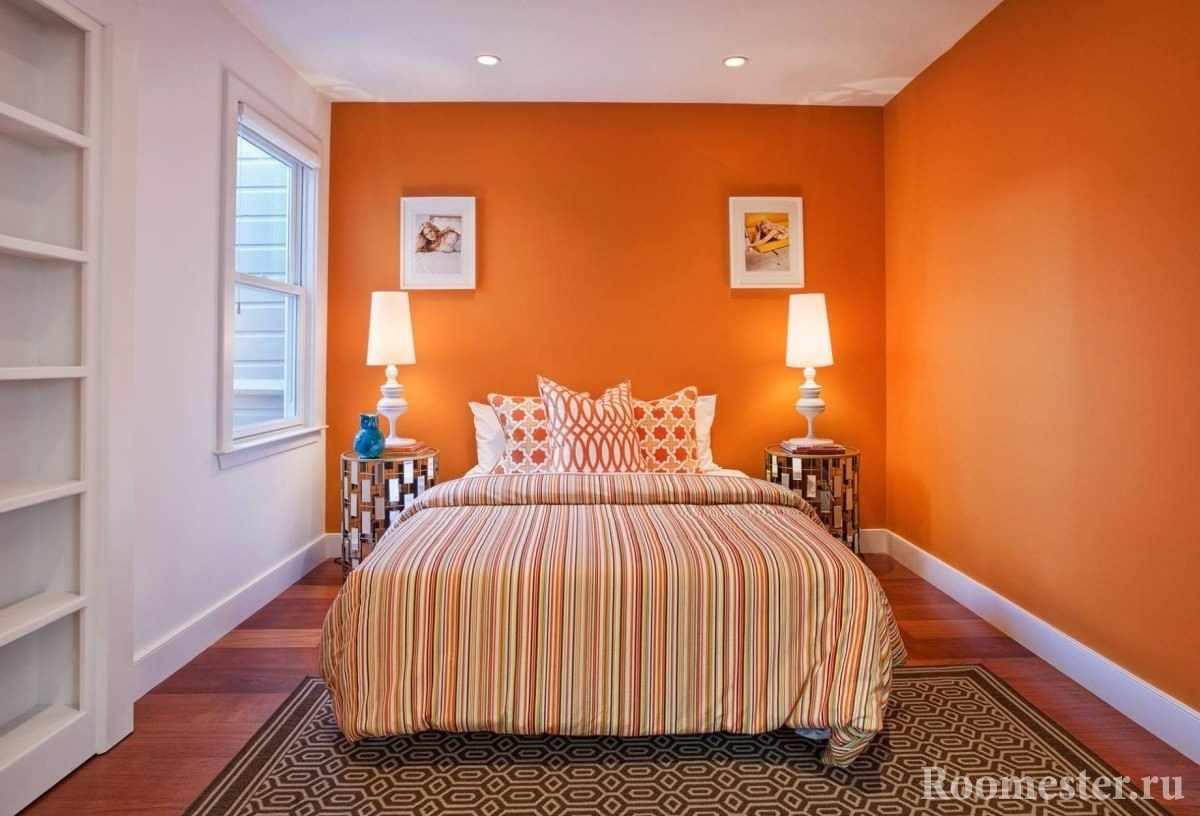 Оранжевый цвет в спальной комнате