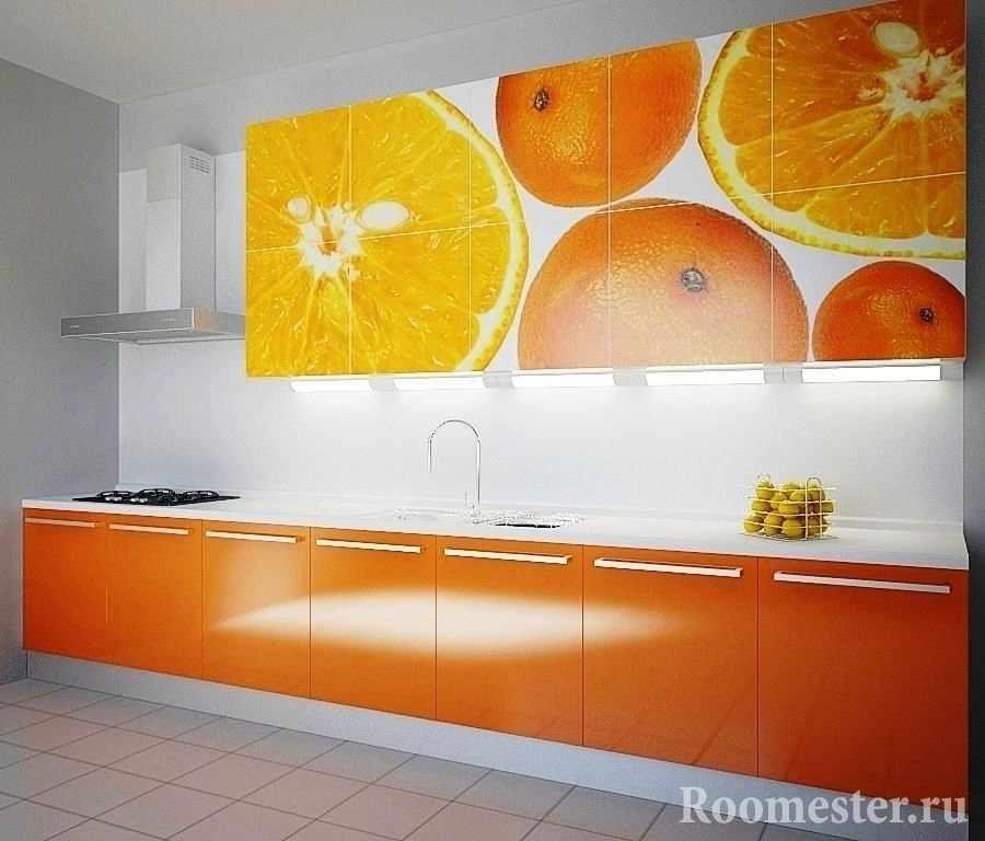 Оранжевые фасады кухни