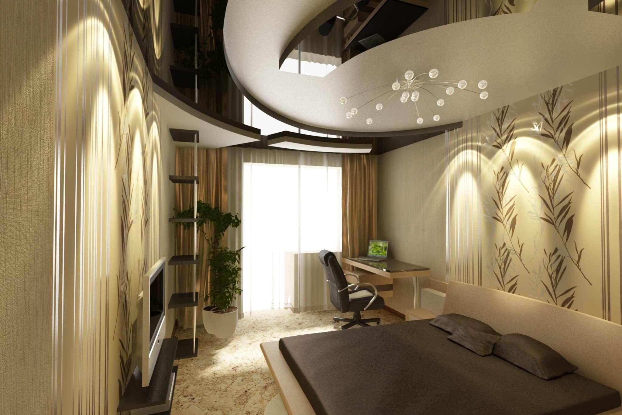 Многоярусный потолок в спальне