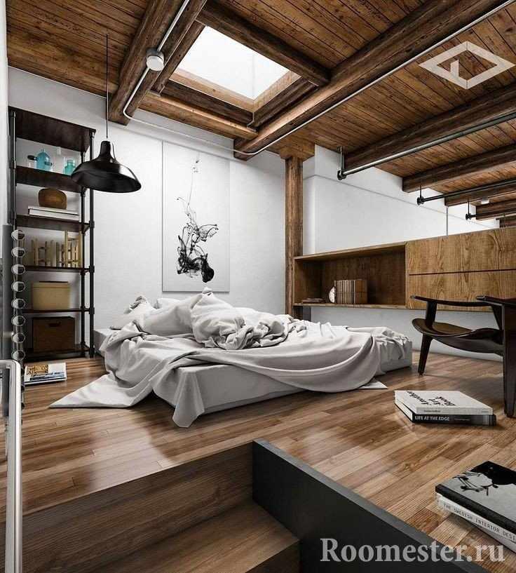Спальня с окном в потолке