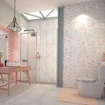 Светлый поток в розовой ванной