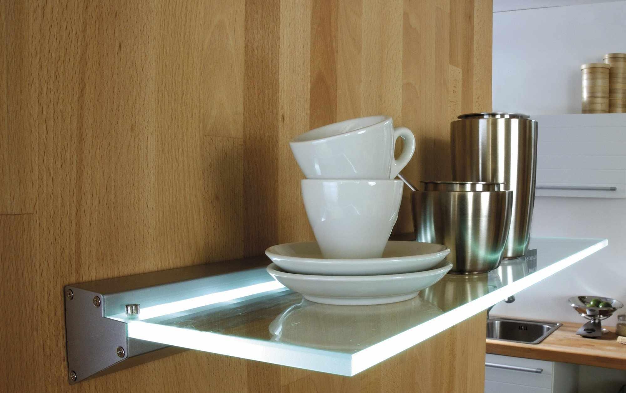 Стеклянная полка для кухни