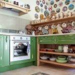 Зеленая мебель для кухни